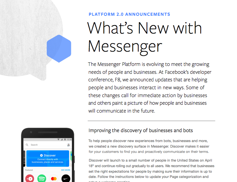 Facebook Developer Conference, F8 - Messenger 2.0 Updates